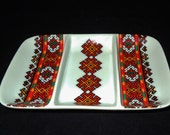 Ukrainian Folk Art Red Pattern Porcelain Tray