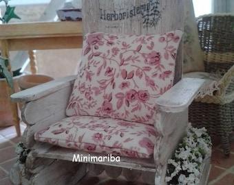 Miniature dollhouse garden armchair shabby chic style
