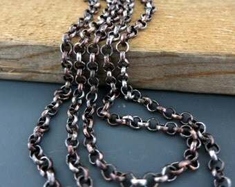 COPPER ROLO CHAIN, Ancient Relic Patina, Hand Applied Patina, by the inch