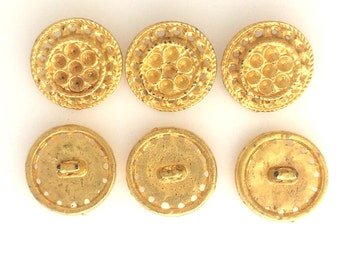 Gold plated filigree buttons set of 6  # 2492