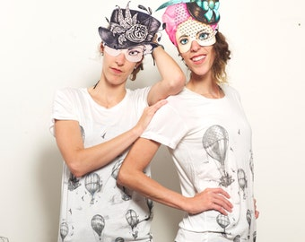 Hot Air Balloon Tee - Womens Tees - balloon Tshirt - balloon Art drape tee