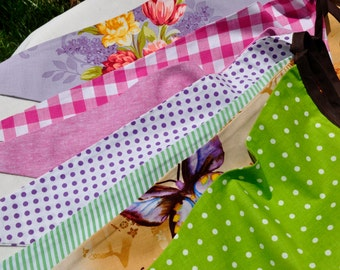 22+ Foot Reversible Multi-Patterned Cotton Bunting/Pennant Strand