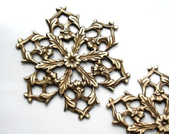 2 Pieces Large Antiqued Brass Filigree