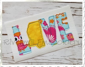 Raggy Applique Mississippi Love Machine Embroidery Design - 4 Sizes