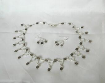 Smoky quartz necklace,smokey quartz earrings,smokey quartz jewelry, Swarovski crystals and sterling Sterling silver