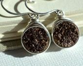 Bronze Druzy Earrings, Dark Brown Druzy Earrings, Wire Wrapped, Sterling Earrings, Druzy Jewelry, Coffee Brown Druzy Quartz Sparkly Earrings
