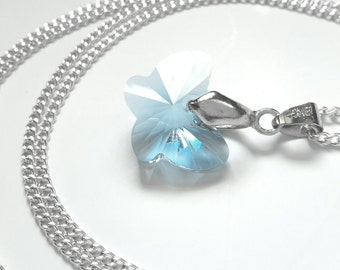 Christmas gifts for her, butterfly necklace, silver pendant necklace, long necklace, blue necklace, christmas gifts, uk shop