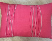 RASPBERRY PINK linen cushion cover with beige & raspberry narrow stripes. Large lumber / rectangle ACCENT cushion cover in Villa Nova fabric