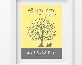 Scottish Terrier Art Print, Scotty Gift, All You Need Is Love And A Scottish Terrier, Tree, Modern Wall Decor
