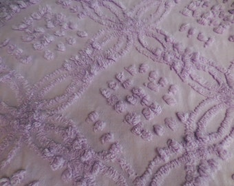 "Cabin Craft LAVENDER / Purple Double Wedding RINGS and POPS Vintage Chenille Bedspread Fabric 24"" X 24"""