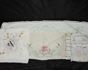 Lot 5 Vintage Hand Embroidered Linens Butterfly Table Runner Red Rose Flower Basket Stained Torn for Crafts