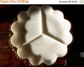 Christmas In July Sale Vintage Milk Glass Serving Dish Gold Trim Hollywood Regency Mid Century Modern Mad Men Mod Entertaining Plate Tablewa