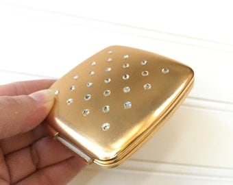 Vintage Compact with Mirror - Mirrored Compact - Gold Compact Rhinestones - Rhinestone Compact