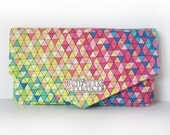Women's Wallet with Triangle Flap, Card Slots and Zip Pocket in Rainbow