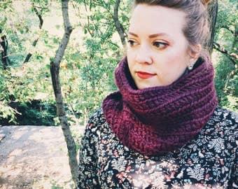 Crochet Scarf - Womens Scarf - Mens Scarf - Unisex Chunky Scarf - Infinity Scarf - Oversized Scarf - Plum Purple Scarf - VALERIA COWL