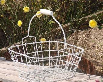 Vintage Metal Farm Gathering Basket with Wooden Handle, White Gardening Basket