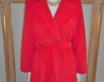 Vintage 1970's Red Trench Style Coat - Size