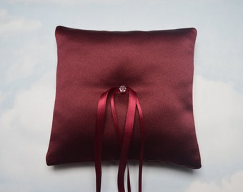 Ring cushion. Burgundy wedding ring bearer pillow.