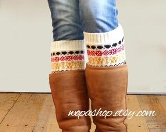 Women Boot cuff - women boot cuffs - Aztec Boot cuffs - leg Warmers - Legwarmers - boot socks (item BC Aztec 102)