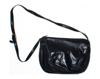 Classic Vintage 80s Black Real Leather Slouchy Shoulder Bag
