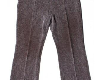 Vintage 90s M&S Brown Herringbone Tweed Short Trousers UK 16 US 14