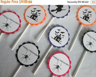 SALE 50% OFF Halloween Cupcake Toppers Halloween Toppers Halloween Favors Cake Topper Halloween Decoration Baking Supplies Treat Toppers Hal