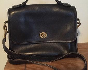 Vintage Coach Large Handle Black Classic Shoulder Handbag Leather Briefcase Crossbody