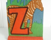 Vintage Alphabet Letter Z for Zebra 30s Childrens Lithograph Cottage Chic Paper 1930s Art Deco Ephemera Primitive Toy Red Blue Assemblage