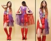 60s 70s Vtg Iconic American Flag FRINGE Purple Genuine Leather STARS+STRIPES Glam Vest /Sleeveless Jacket Hippie Patriotic Biker Rock n Roll