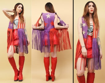 60s 70s Vtg Iconic American Flag FRINGE Purple Genuine Leather STARS+STRIPES Glam Vest /Sleeveless Jacket Hippie Patriotic Biker Rock n Roll