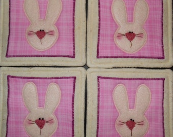 Primitive Whimsical Country Easter BUNNY Rabbit Faces Coasters Mug Mats Scatter Mats Hot Pads Trivets