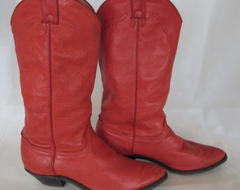 Red Ladies Cowboy Boots 8 1/2 M All Leather