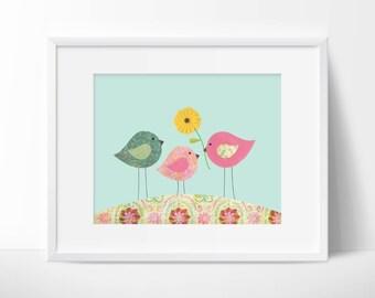 Nursery or children's room artwork, birds, love, family, pink, blue, green, girl, flowers, spring, vintage, floral, change background color