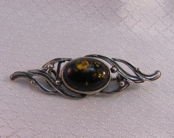 Vintage Victorian Black Amber with Gold Bubbles Sterling Brooch