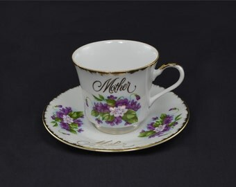 Mother Tea Cup and Saucer with Violets