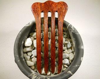 4 prong Bubinga wood hair fork