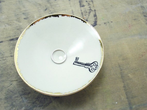 White Key Porcelain Small Bowl, Jewelry Dish, Ring Dish, Dipping Bowl