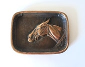 Vintage Brass Decorative Horse Catchall Tray