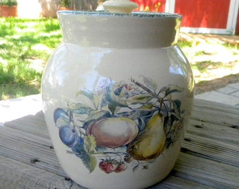 Marshall Pottery Casey cookie jar hand turned fruit design dated stoneware cookie jar