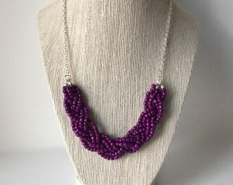 Dark Purple Beaded Braid Necklace