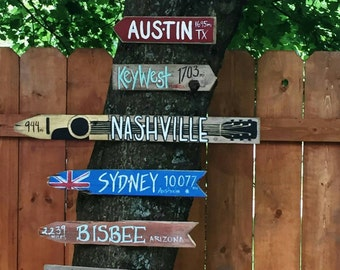 Set of 7 Custom Travel Signs - Hand Painted on Reclaimed Wood Fence Pickets - Outdoor, Garden, Vacation Signs