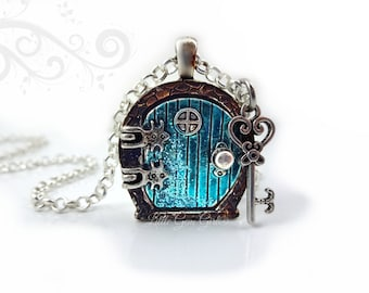 Marvelous Fairy Door Locket Necklace   Alice In Wonderland Door Charm   Aqua Blue  Sparkly Door With