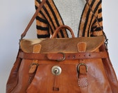 Indian navajo large leather duffle bag supple leather, cowhide