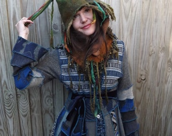 Pixie festival felted hat- elf hat-Winter Hat-Winter hood- Wool hat-Pixie Hood- Pixie hooded cowl -  pixie cowl - woodland cowl