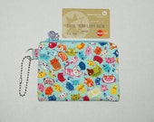 "Padded Zipper Pouch / Coin purse / Gift Card Pouch Made with Japanese Cotton Oxford Fabric ""Silly Cats"""