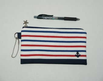 "Padded Zipper Pouch / Pencil Case / Bank Pouch Made with ""Nautical Tri-Color Border Stripe with Anchor Applique and Canvas Bottom"""