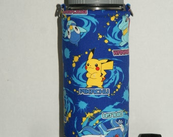 "Insulated Water Bottle Holder for 18oz Hydro Flask with Interchangeble Handle and Strap Made with Japanese Fabric ""Pokemon DP - Swirls"""