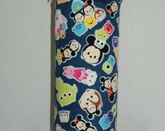 "Insulated Water Bottle Holder for 40oz Hydro Flask / Thermos with Interchangeble Handle/Strap Made with ""Tsum Tsum - Chino Denim"" Fabric"
