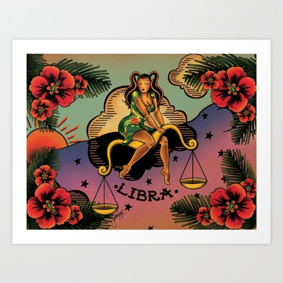 Horoscope Tattoo Libra Print