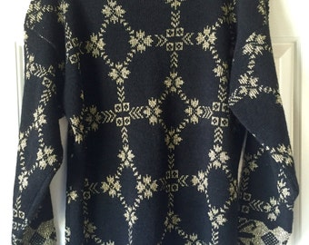 Vintage Ugly Christmas Sweater - Black and Gold Large Sweater